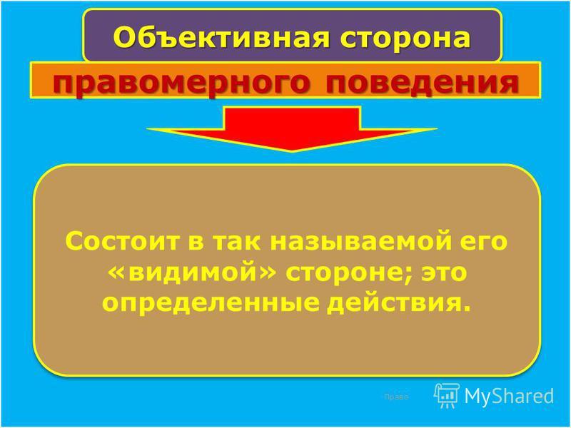 Право 8 Объективная сторона Состоит в так называемой его «видимой» стороне; это определенные действия. правомерного поведения