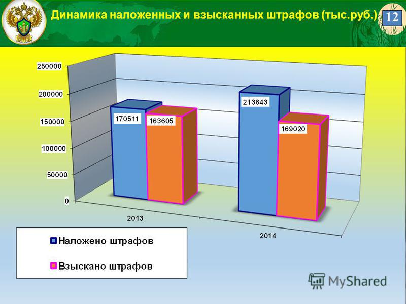 12 Динамика наложенных и взысканных штрафов (тыс.руб.) 12