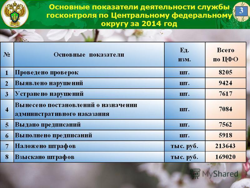3 Основные показатели деятельности службы госконтроля по Центральному федеральному округу за 2014 год 3
