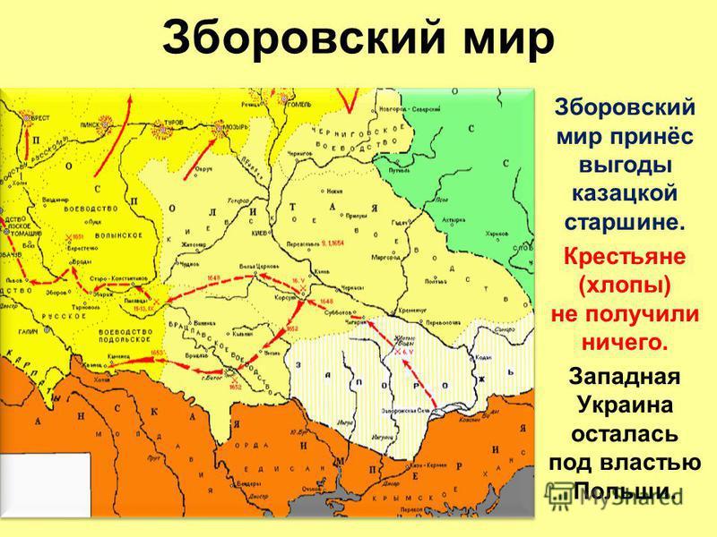 Зборовский мир Зборовский мир принёс выгоды казацкой старшине. Крестьяне (хлопы) не получили ничего. Западная Украина осталась под властью Польши.