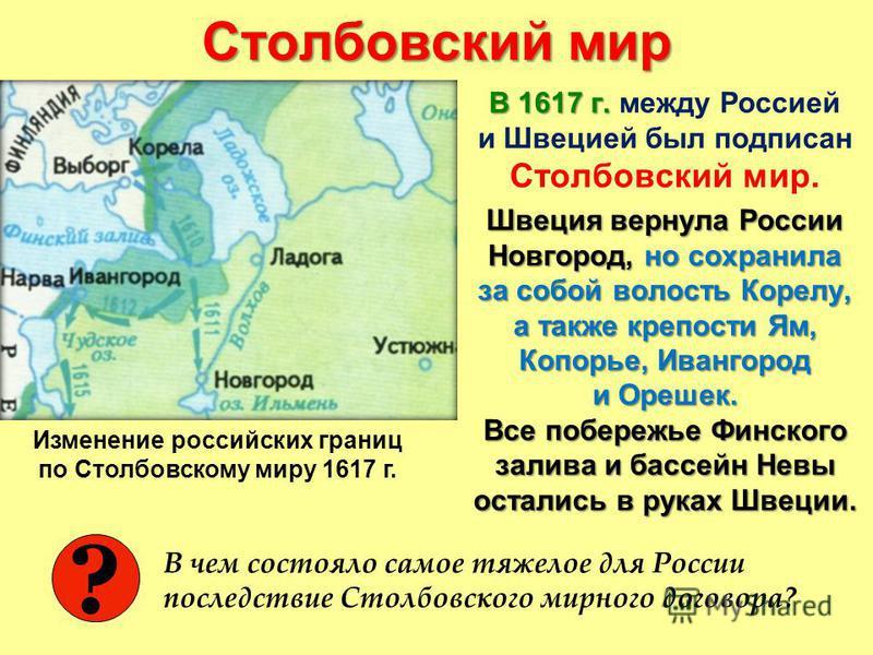 Столбовский мир В 1617 г. В 1617 г. между Россией и Швецией был подписан Столбовский мир. Швеция вернула России Новгород, но сохранила за собой волость Корелу, а также крепости Ям, Копорье, Ивангород и Орешек. Все побережье Финского залива и бассейн