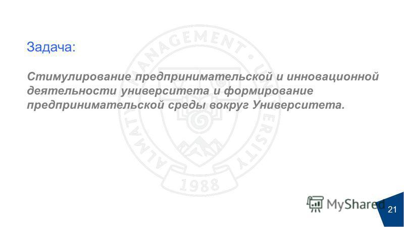 Задача: Стимулирование предпринимательской и инновационной деятельности университета и формирование предпринимательской среды вокруг Университета. 21