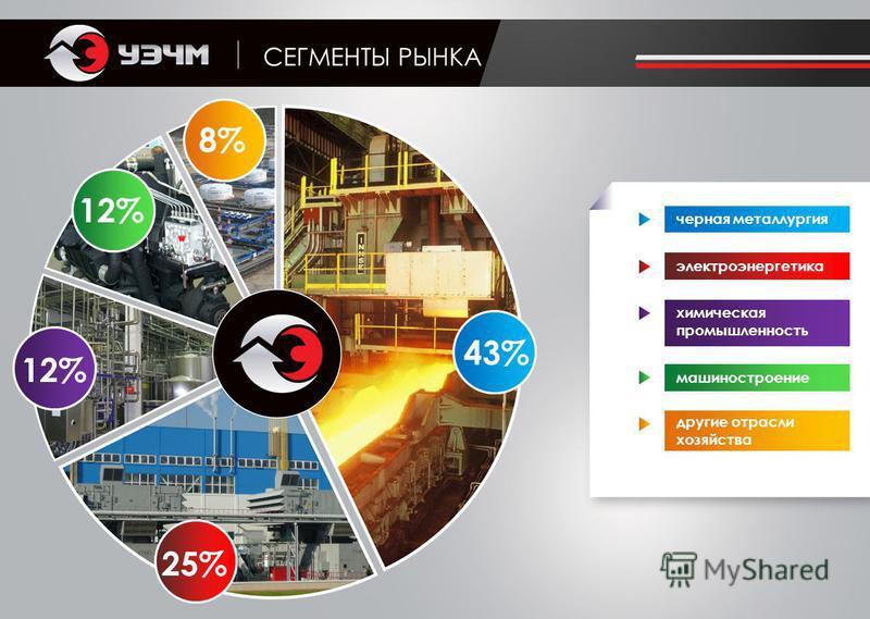 СЕГМЕНТЫ РЫНКА черная металлургия электроэнергетика химическая промышленность машиностроение другие отрасли хозяйства 8% 12% 25% 43%