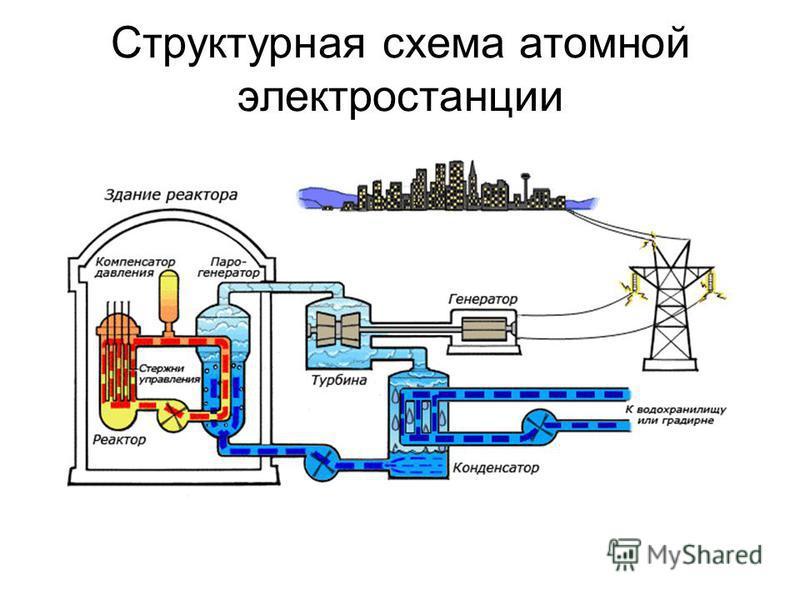 Структурная схема атомной электростанции