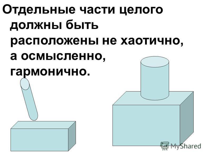 Отдельные части целого должны быть расположены не хаотично, а осмысленно, гармонично.