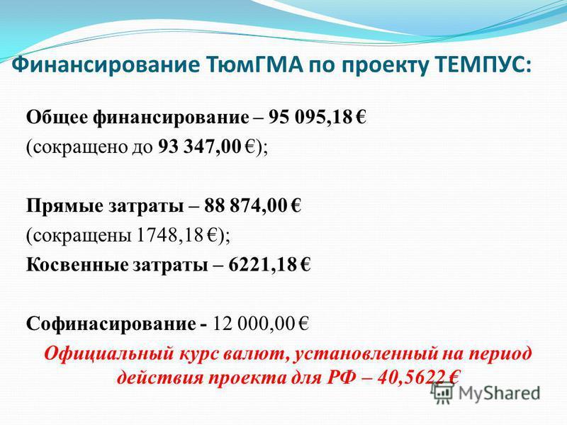 Финансирование ТюмГМА по проекту ТЕМПУС: Общее финансирование – 95 095,18 (сокращено до 93 347,00 ); Прямые затраты – 88 874,00 (сокращены 1748,18 ); Косвенные затраты – 6221,18 Софинасирование - 12 000,00 Официальный курс валют, установленный на пер