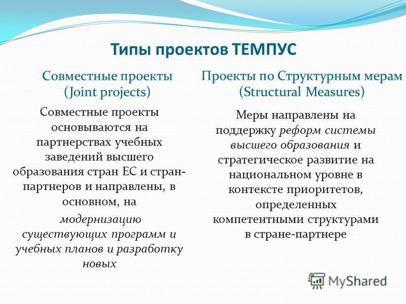 Типы проектов ТЕМПУС Совместные проекты (Joint projects) Проекты по Структурным мерам (Structural Measures) Совместные проекты основываются на партнерствах учебных заведений высшего образования стран ЕС и стран- партнеров и направлены, в основном, на