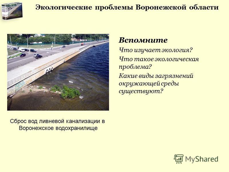 Вспомните Что изучает экология? Что такое экологическая проблема? Какие виды загрязнений окружающей среды существуют? Сброс вод ливневой канализации в Воронежское водохранилище