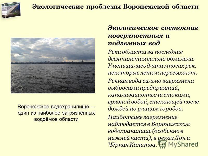 Экологические проблемы Воронежской области Экологическое состояние поверхностных и подземных вод Реки области за последние десятилетия сильно обмелели. Уменьшилась длина многих рек, некоторые летом пересыхают. Речная вода сильно загрязнена выбросами