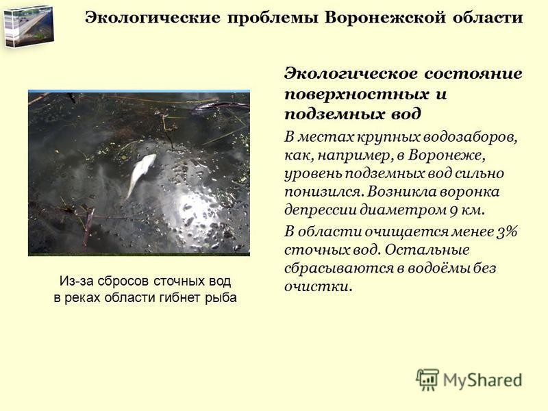 Экологические проблемы Воронежской области Экологическое состояние поверхностных и подземных вод В местах крупных водозаборов, как, например, в Воронеже, уровень подземных вод сильно понизился. Возникла воронка депрессии диаметром 9 км. В области очи