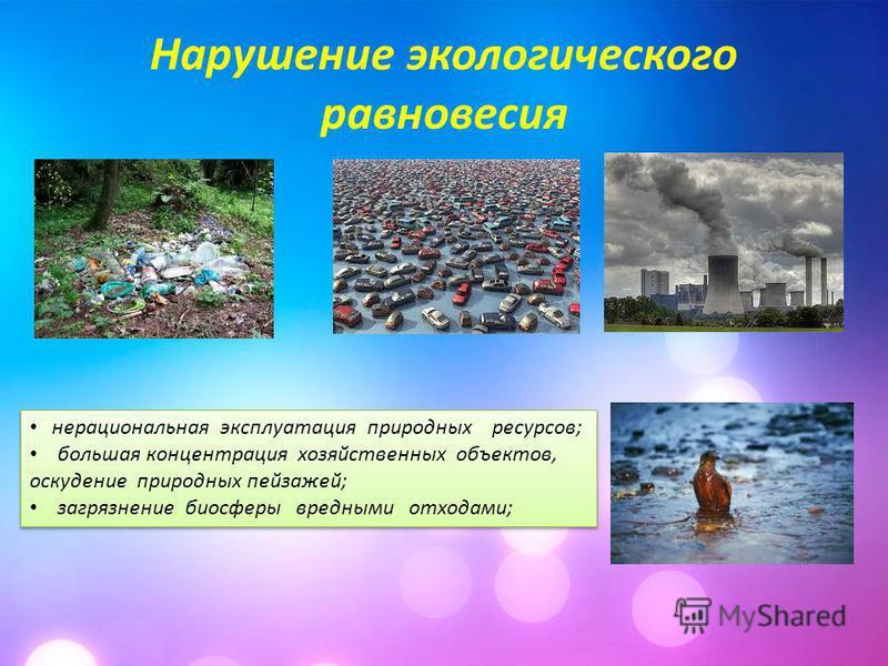 Нарушение экологического равновесия нерациональная эксплуатация природных ресурсов; большая концентрация хозяйственных объектов, оскудение природных пейзажей; загрязнение биосферы вредными отходами; нерациональная эксплуатация природных ресурсов; бол