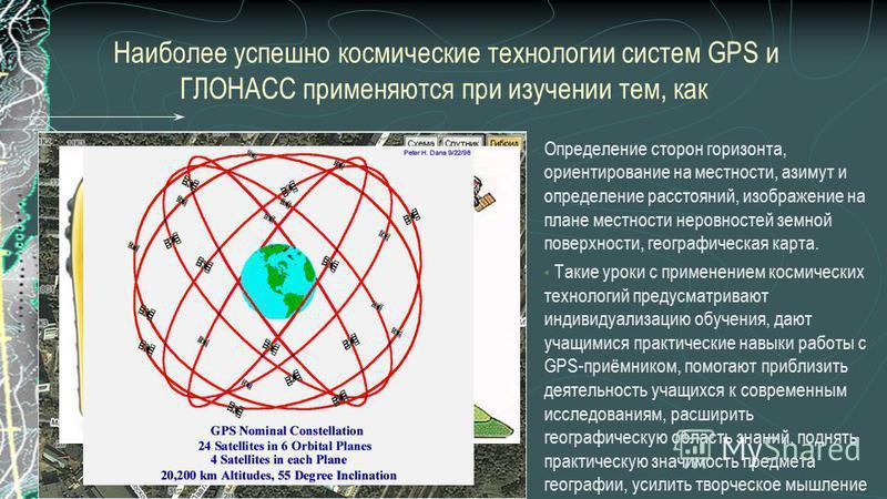Наиболее успешно космические технологии систем GPS и ГЛОНАСС применяются при изучении тем, как Определение сторон горизонта, ориентирование на местности, азимут и определение расстояний, изображение на плане местности неровностей земной поверхности,