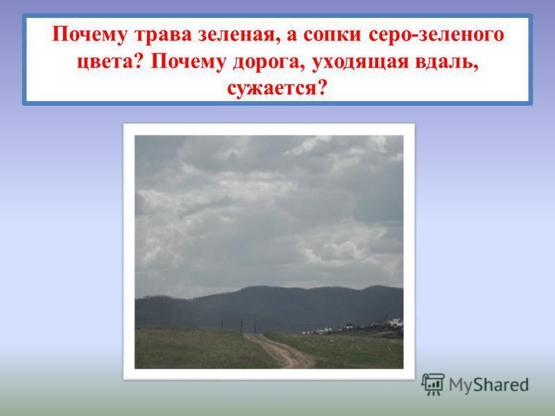 Почему трава зеленая, а сопки серо-зеленого цвета? Почему дорога, уходящая вдаль, сужается?