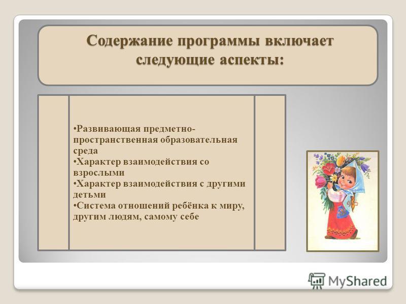 Содержание программы включает следующие аспекты: Развивающая предметно- пространственная образовательная среда Характер взаимодействия со взрослыми Характер взаимодействия с другими детьми Система отношений ребёнка к миру, другим людям, самому себе
