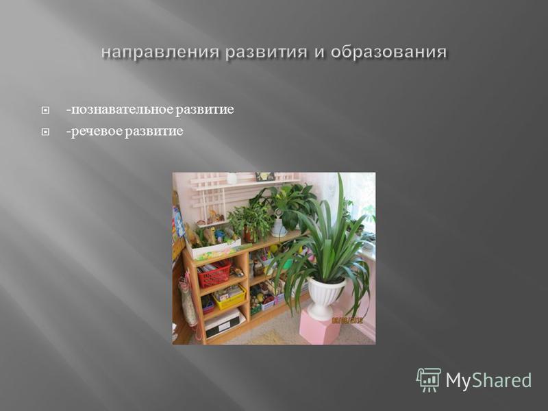 - познавательное развитие - речевое развитие