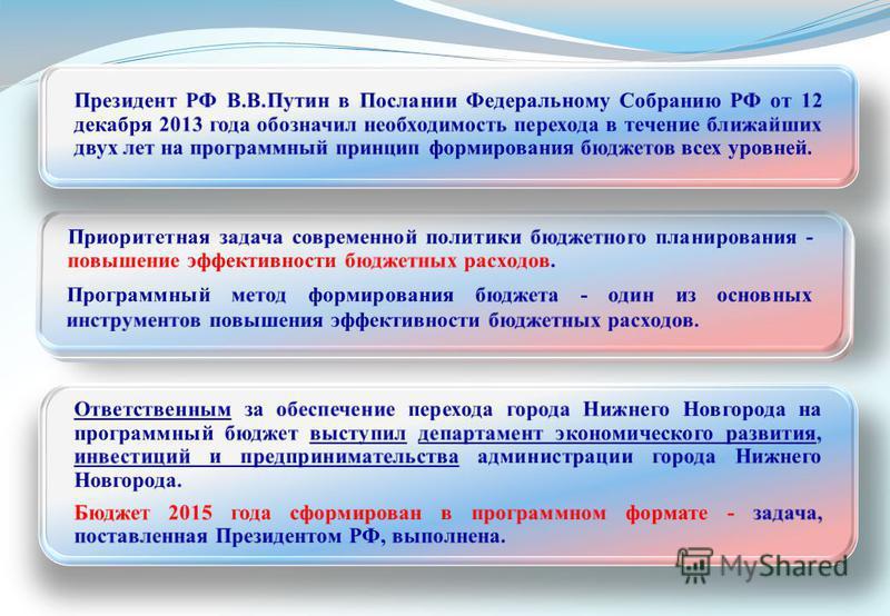 Ответственным за обеспечение перехода города Нижнего Новгорода на программный бюджет выступил департамент экономического развития, инвестиций и предпринимательства администрации города Нижнего Новгорода. Бюджет 2015 года сформирован в программном фор