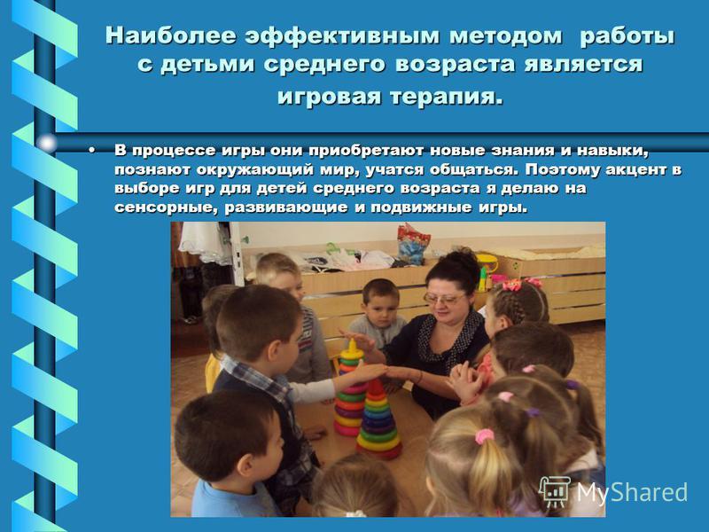 Наиболее эффективным методом работы с детьми среднего возраста является игровая терапия. В процессе игры они приобретают новые знания и навыки, познают окружающий мир, учатся общаться. Поэтому акцент в выборе игр для детей среднего возраста я делаю н