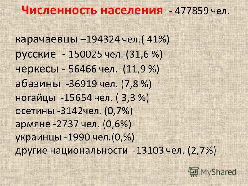 Численность населения - 477859 чел. карачаевцы –194324 чел.( 41%) русские - 150025 чел. (31,6 %) черкесы - 56466 чел. (11,9 %) абазины -36919 чел. (7,8 %) ногайцы -15654 чел. ( 3,3 %) осетины -3142 чел. (0,7%) армяне -2737 чел. (0,6%) украинцы -1990