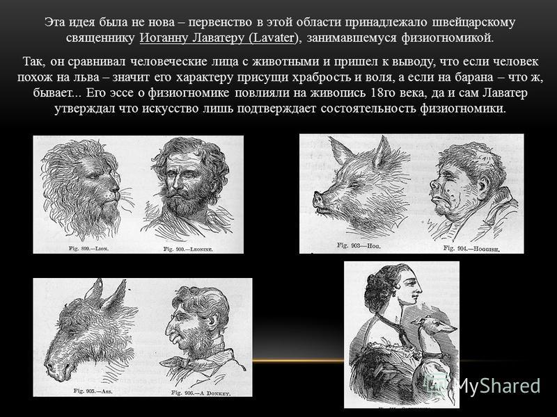 Эта идея была не нова – первенство в этой области принадлежало швейцарскому священнику Иоганну Лаватеру (Lavater), занимавшемуся физиогномикой. Так, он сравнивал человеческие лица с животными и пришел к выводу, что если человек похож на льва – значит
