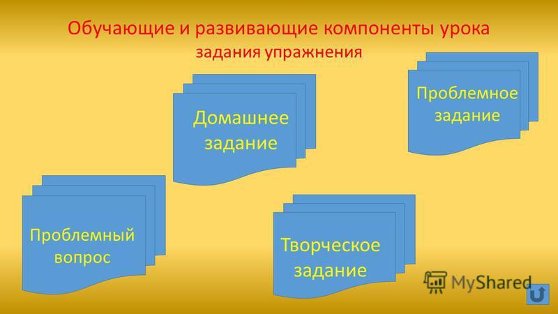 Обучающие и развивающие компоненты урока задания упражнения Домашнее задание Творческое задание Проблемное задание Проблемный вопрос