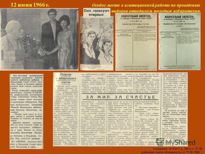 12 июня 1966 г. Особое место в агитационной работе по проведению выборов отводилось молодым избирателям. Основание: Ф-1Оп-1 д. 340 л.л. 37-38; районная газета «Коммунист» от 15.06.1966 г.