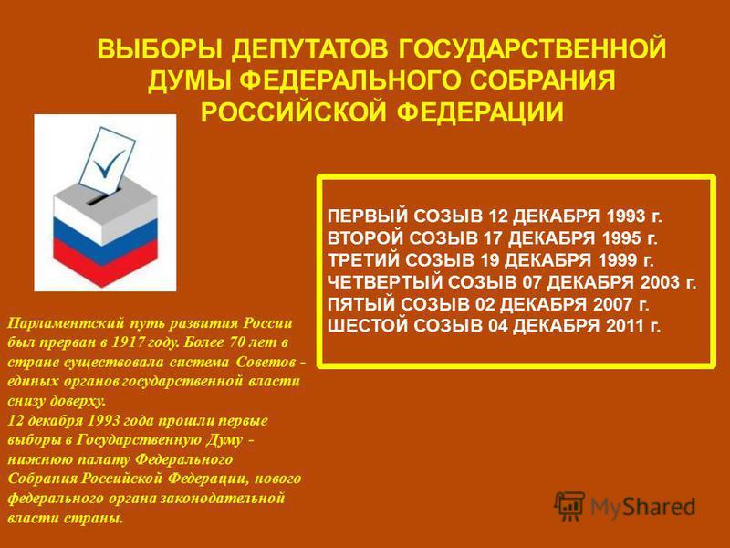 ВЫБОРЫ ДЕПУТАТОВ ГОСУДАРСТВЕННОЙ ДУМЫ ФЕДЕРАЛЬНОГО СОБРАНИЯ РОССИЙСКОЙ ФЕДЕРАЦИИ Парламентский путь развития России был прерван в 1917 году. Более 70 лет в стране существовала система Советов - единых органов государственной власти снизу доверху. 12