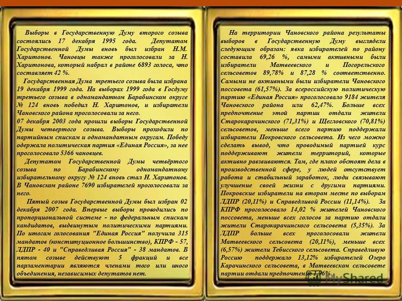 Выборы в Государственную Думу второго созыва состоялись 17 декабря 1995 года. Депутатом Государственной Думы вновь был избран Н.М. Харитонов. Чановцы также проголосовали за Н. Харитонова, который набрал в районе 6893 голоса, что составляет 42 %. Госу