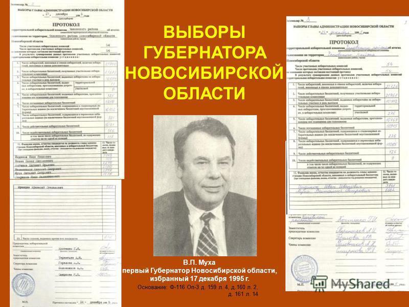 В.П. Муха первый Губернатор Новосибирской области, избранный 17 декабря 1995 г. Основание: Ф-116 Оп-3 д. 159 л. 4, д.160 л. 2, д. 161 л. 14 ВЫБОРЫ ГУБЕРНАТОРА НОВОСИБИРСКОЙ ОБЛАСТИ