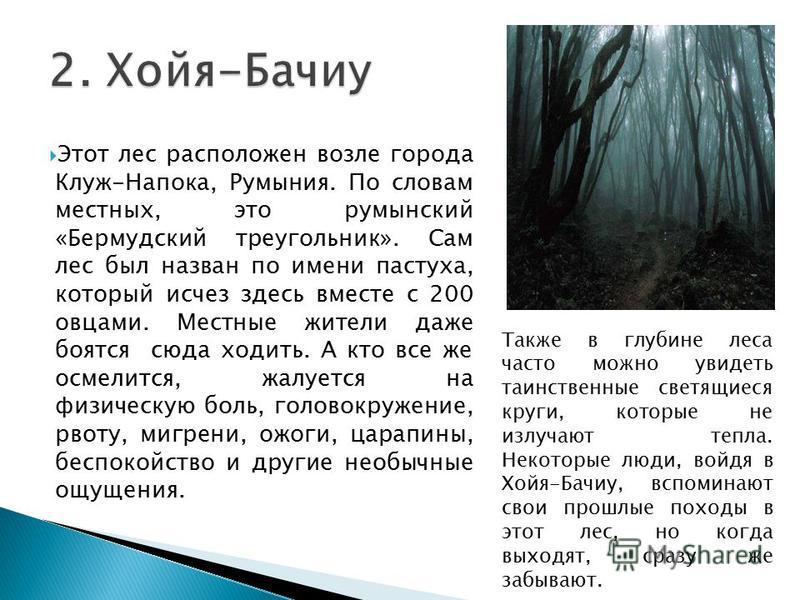 Этот лес расположен возле города Клуж-Напока, Румыния. По словам местных, это румынский «Бермудский треугольник». Сам лес был назван по имени пастуха, который исчез здесь вместе с 200 овцами. Местные жители даже боятся сюда ходить. А кто все же осмел