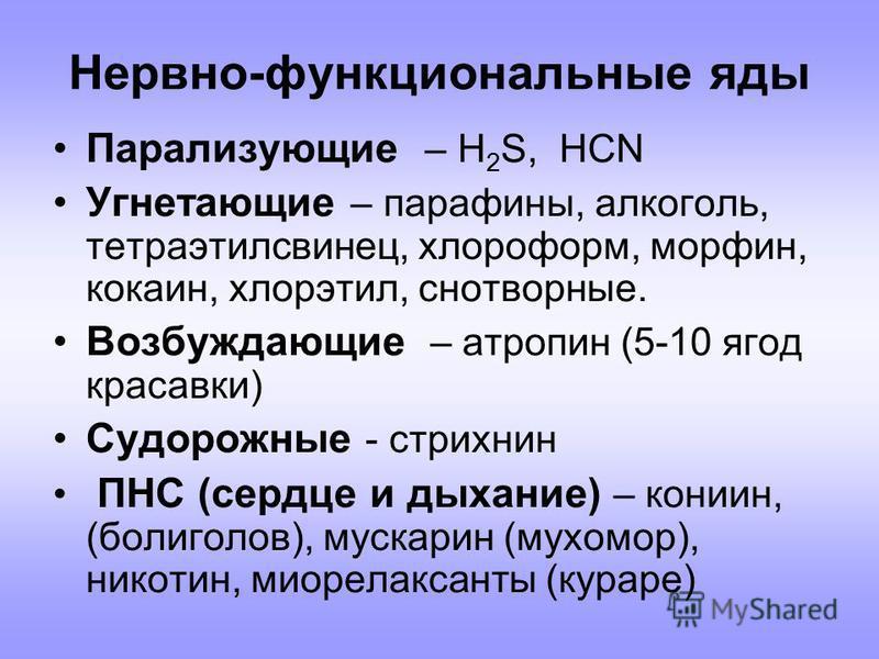 Нервно-функциональные яды Парализующие – H 2 S, HCN Угнетающие – парафины, алкоголь, тетраэтилсвинец, хлороформ, морфин, кокаин, хлорэтил, снотворные. Возбуждающие – атропин (5-10 ягод красавки) Судорожные - стрихнин ПНС (сердце и дыхание) – кониин,
