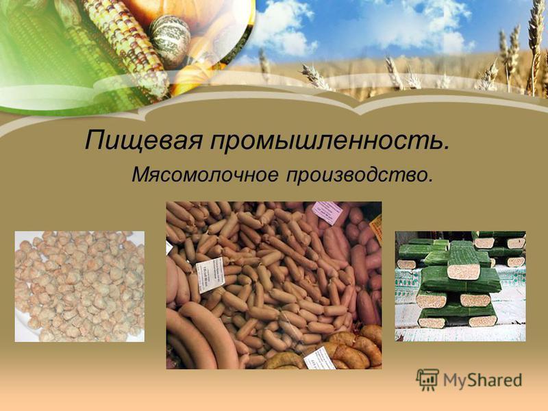 Пищевая промышленность. Мясомолочное производство.