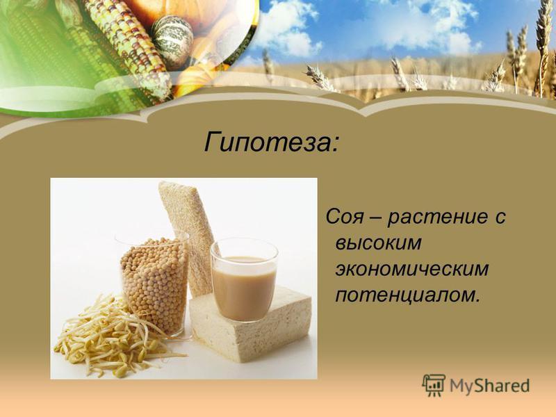 Гипотеза: Соя – растение с высоким экономическим потенциалом.