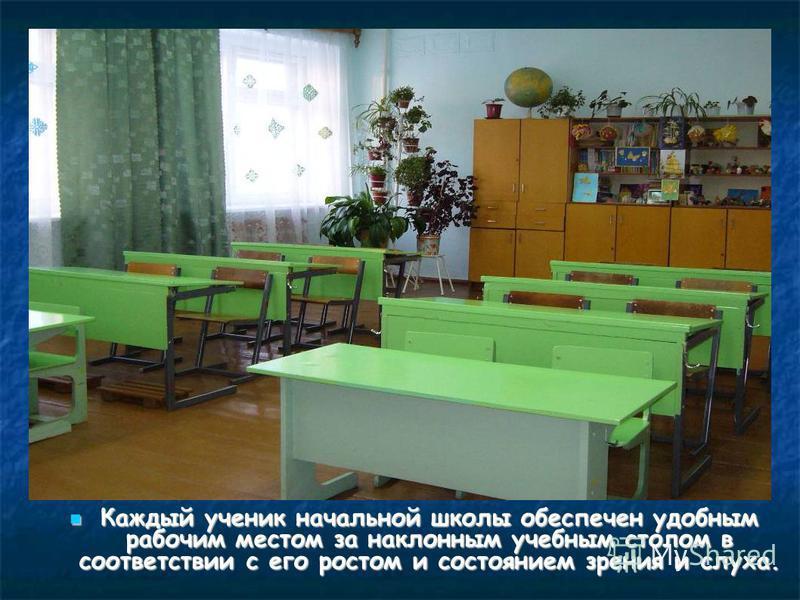 Каждый ученик начальной школы обеспечен удобным рабочим местом за наклонным учебным столом в соответствии с его ростом и состоянием зрения и слуха. Каждый ученик начальной школы обеспечен удобным рабочим местом за наклонным учебным столом в соответст