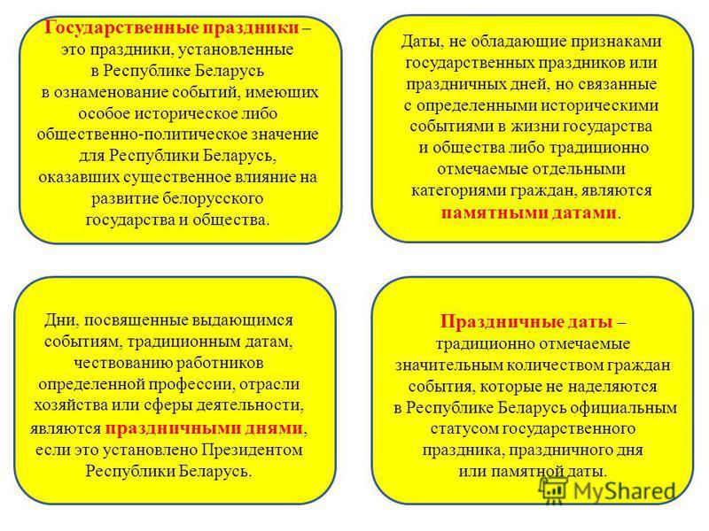 Государственные праздники – это праздники, установленные в Республике Беларусь в ознаменование событий, имеющих особое историческое либо общественно-политическое значение для Республики Беларусь, оказавших существенное влияние на развитие белорусског