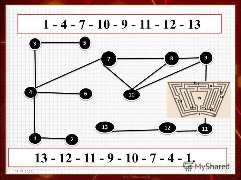 7 13 - 12 - 11 - 9 - 10 - 7 - 4 - 1. 1 - 4 - 7 - 10 - 9 - 11 - 12 - 13 3 3 7 7 8 8 9 9 5 5 2 2 1 1 6 6 10 4 4 12 11