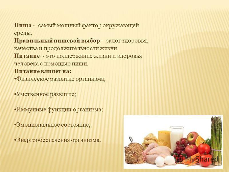 Пища - самый мощный фактор окружающей среды. Правильный пищевой выбор - залог здоровья, качества и продолжительности жизни. Питание - это поддержание жизни и здоровья человека с помощью пищи. Питание влияет на: Физическое развитие организма; Умственн