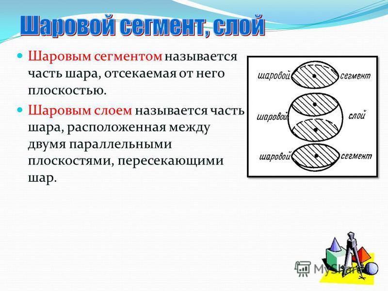 Шаровым сегментом называется часть шара, отсекаемая от него плоскостью. Шаровым слоем называется часть шара, расположенная между двумя параллельными плоскостями, пересекающими шар.