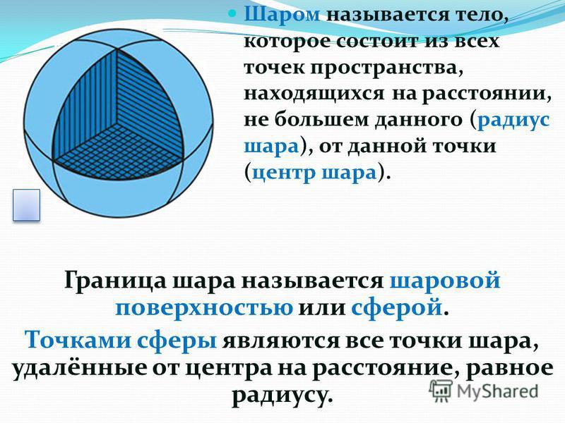 Граница шара называется шаровой поверхностью или сферой. Точками сферы являются все точки шара, удалённые от центра на расстояние, равное радиусу. Шаром называется тело, которое состоит из всех точек пространства, находящихся на расстоянии, не больше