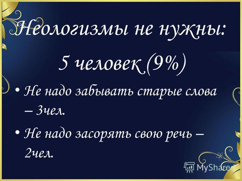 Неологизмы не нужны: 5 человек (9%) Не надо забывать старые слова – 3 чел. Не надо засорять свою речь – 2 чел.