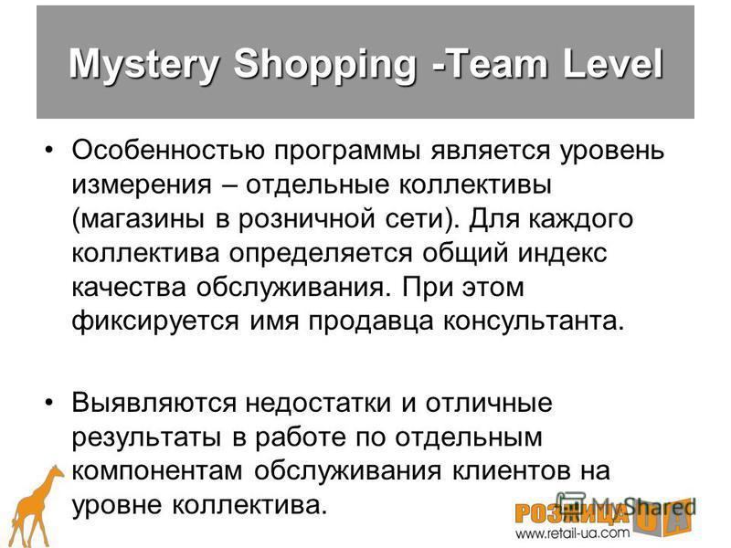Существует всего три варианта проведения программы Mystery Shopping: Team LevelTeam Level Individual LevelIndividual Level BenchmarkBenchmark Варианты проведения Mystery Shopping?