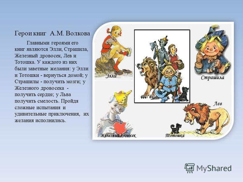 Герои книг А.М. Волкова Главными героями его книг являются Элли, Страшила, Железный дровосек, Лев и Тотошка. У каждого из них были заветные желания: у Элли и Тотошки - вернуться домой; у Страшилы - получить мозги; у Железного дровосека - получить сер