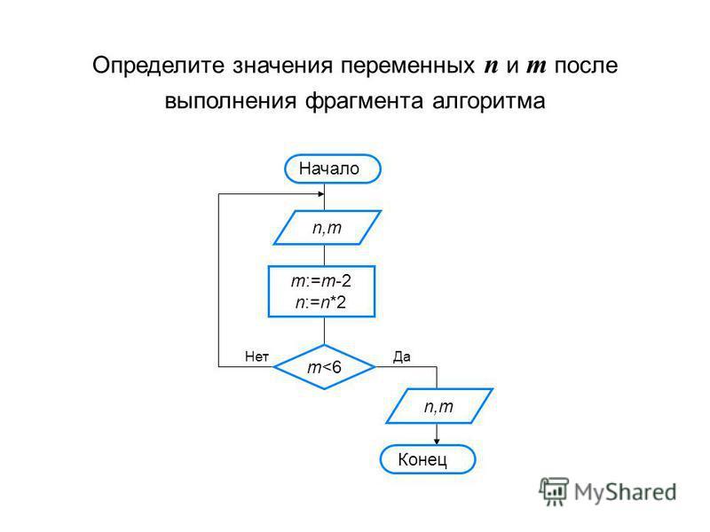 Определите значения переменных n и m после выполнения фрагмента алгоритма Начало n,m m:=m-2 n:=n*2 m