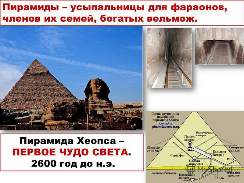 Пирамиды – усыпальницы для фараонов, членов их семей, богатых вельмож. Пирамида Хеопса – ПЕРВОЕ ЧУДО СВЕТА. 2600 год до н.э.
