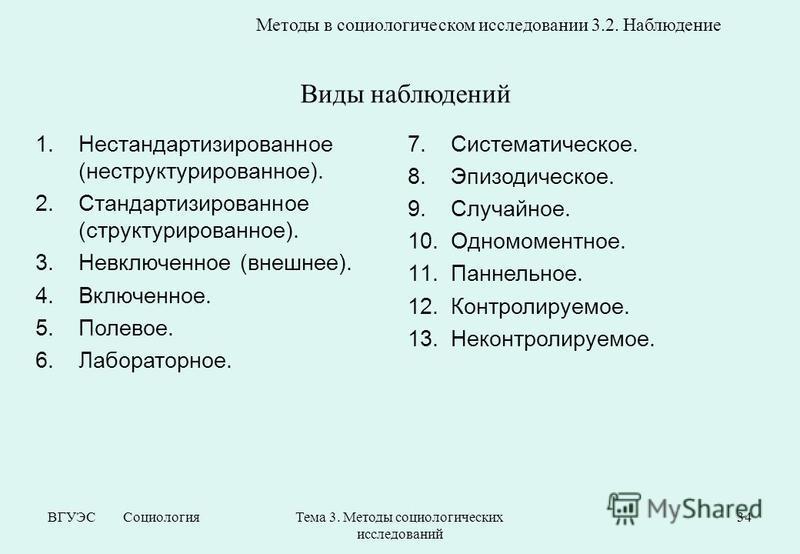 ВГУЭС Социология Тема 3. Методы социологических исследований 34 Методы в социологическом исследовании 3.2. Наблюдение 1. Нестандартизированное (неструктурированное). 2. Стандартизированное (структурированное). 3. Невключенное (внешнее). 4.Включенное.