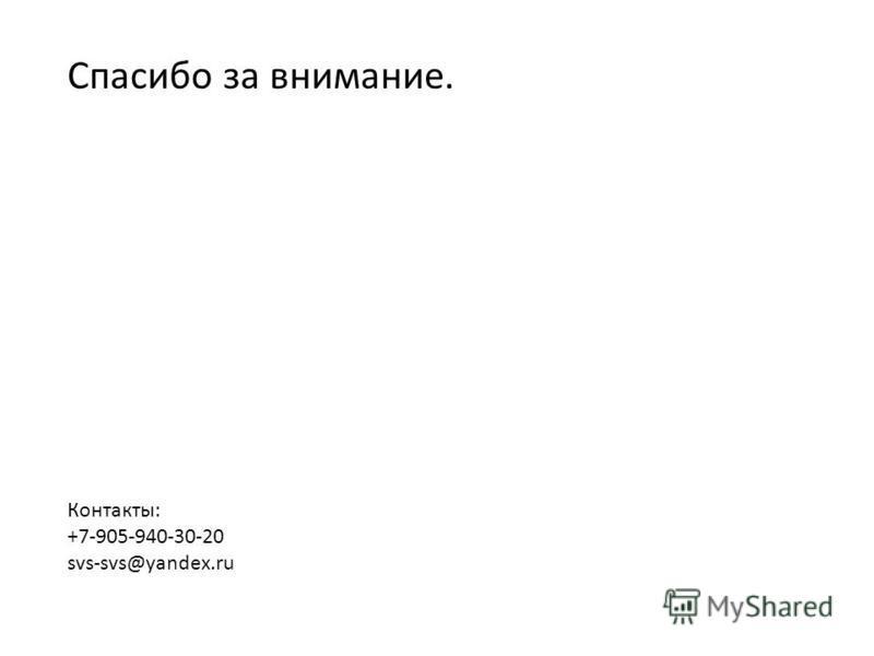 Спасибо за внимание. Контакты: +7-905-940-30-20 svs-svs@yandex.ru