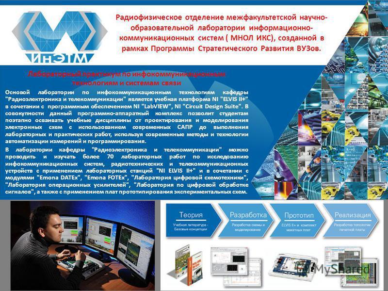 Радиофизическое отделение межфакультетской научно- образовательной лаборатории информационно- коммуникационных систем ( МНОЛ ИКС), созданной в рамках Программы Стратегического Развития ВУЗов. Лабораторный практикум по инфокоммуникационным технологиям