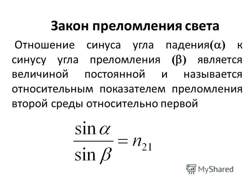 Закон преломления света Отношение синуса угла падения ( ) к синусу угла преломления ( ) является величиной постоянной и называется относительным показателем преломления второй среды относительно первой
