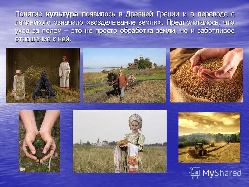 Понятие культура появилось в Древней Греции и в переводе с латинского означало «возделывание земли». Предполагалось, что уход за полем – это не просто обработка земли, но и заботливое отношение к ней.
