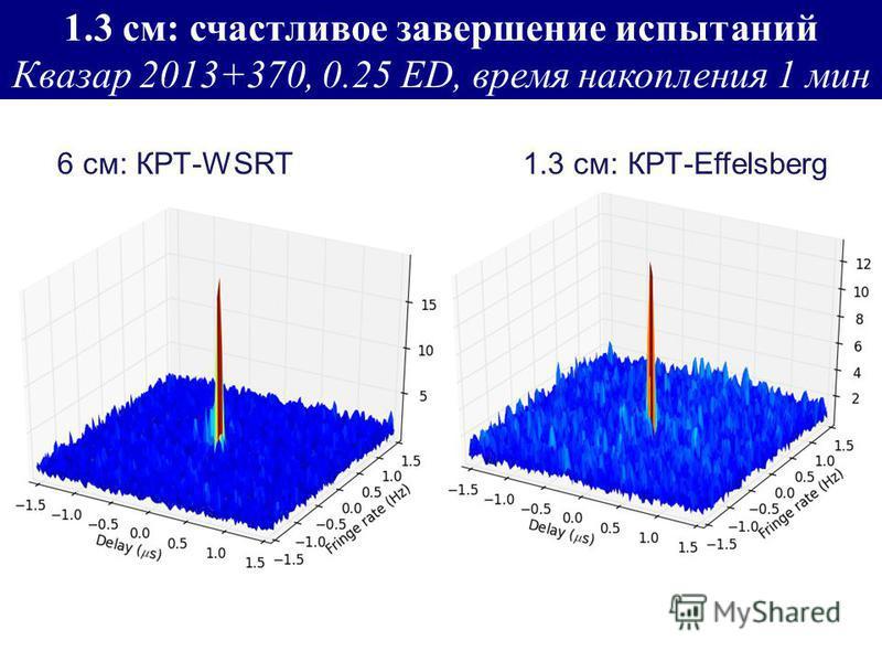 1.3 см: счастливое завершение испытаний Квазар 2013+370, 0.25 ED, время накопления 1 мин 6 см: КРТ-WSRT 1.3 см: КРТ-Effelsberg