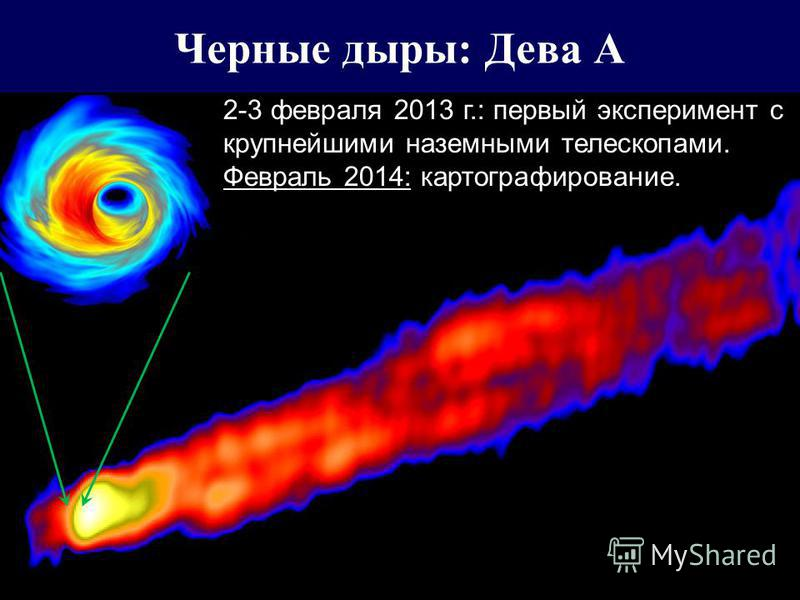 Черные дыры: Дева А 2-3 февраля 2013 г.: первый эксперимент с крупнейшими наземными телескопами. Февраль 2014: картографирование. Миллиметрон...
